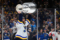 June 12, 2019: St. Louis Blues defenseman Alex Pietrangelo (27) hoists the Stanley Cup at game 7 of the NHL Stanley Cup Finals between the St Louis Blues and the Boston Bruins held at TD Garden, in Boston, Mass. The Saint Louis Blues defeat the Boston Bruins 4-1 in game 7 to win the 2019 Stanley Cup Championship.  Eric Canha/CSM