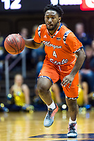 Morgantown, WV - NOV 18, 2017: Morgan State Bears guard Kyson Rawls (4) brings the ball up court during game between West Virginia and Morgan State at WVU Coliseum Morgantown, West Virginia. (Photo by Phil Peters/Media Images International)