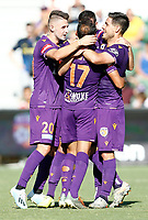 11th January 2020; HBF Park, Perth, Western Australia, Australia; A League Football, Perth Glory versus Adelaide United; Perth Glory players celebrate with Joel Chianese after he scored in the 27th minute to make the score 1-0 - Editorial Use