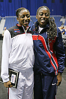 SAN ANTONIO, TX - APRIL 3: Nnemkadi Ogwumike and sister Cheney during the State Farm Coaches' All-America Team announcement on April 3, 2010 in San Antonio, Texas.
