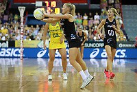 07.10.2018 Silver Ferns Laura Langman in action during the Silver Ferns v Australia netball test match at the Brisbane Entertainment Centre in Brisbane. Mandatory Photo Credit ©Michael Bradley.