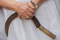 A woman holds her sickle during a traditional harvest festival in Opalyi (some 280 kilometers East of capital city Budapest), Hungary on July 13, 2013. ATTILA VOLGYI