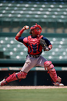 GCL Red Sox catcher Oscar Rangel (39) throws down to second base during a Gulf Coast League game against the GCL Orioles on July 29, 2019 at Ed Smith Stadium in Sarasota, Florida.  GCL Red Sox defeated the GCL Pirates 9-1.  (Mike Janes/Four Seam Images)