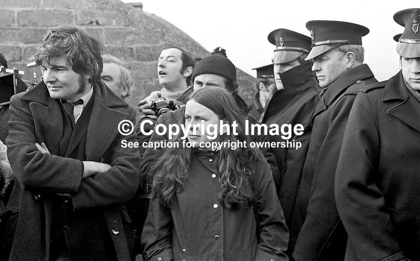 Northern Ireland Civil Rights March near Magilligan Prison, Co Londonderry, Saturday, 11th March 1972. Stand-off between the organisers, Kevin Boyle, civil rights activist, and Bernadette Devlin, MP, and the police line which brough the protest to a halt. 197203110110d.<br /> <br /> Copyright Image from Victor Patterson,<br /> 54 Dorchester Park, Belfast, UK, BT9 6RJ<br /> <br /> t1: +44 28 90661296<br /> t2: +44 28 90022446<br /> m: +44 7802 353836<br /> <br /> e1: victorpatterson@me.com<br /> e2: victorpatterson@gmail.com<br /> <br /> For my Terms and Conditions of Use go to<br /> www.victorpatterson.com