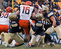 Pitt defensive players Jeremiah Taleni and Reggie Mitchell sack the quarterback. The Pitt Panthers defeated the Syracuse Orange 76-61 at Heinz Field in Pittsburgh, Pennsylvania on November 26, 2016.