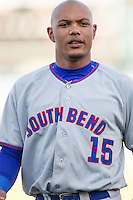South Bend Cubs outfielder Eddy Martinez (15) in action against the Great Lakes Loons on May 18, 2016 at Dow Diamond in Midland, Michigan. Great Lakes defeated South Bend 5-4. (Andrew Woolley/Four Seam Images)