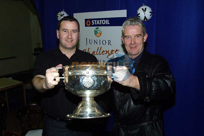 Junior Soccer Aul Complex Cloghran where the StatOil  F.A.I. Junior Cup 5th Round Draw took Place..Adrian Kelly Manager Rush Athlectic & Noel Synnott Manager Ballymun United..pic Paul Nicholls/MediaPix