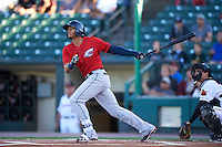 Columbus Clippers shortstop Erik Gonzalez (11) at bat during a game against the Rochester Red Wings on June 14, 2016 at Frontier Field in Rochester, New York.  Rochester defeated Columbus 1-0.  (Mike Janes/Four Seam Images)