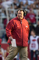 Hawgs Illustrated/BEN GOFF <br /> Bret Bielema, Arkansas head coach, walks off the field after checking on an injured player in the third quarter against Missouri Friday, Nov. 24, 2017, at Reynolds Razorback Stadium in Fayetteville.