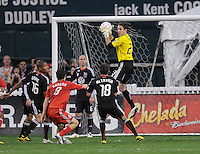 DC United goalkeeper Troy Perkins goes up to save a play.  Toronto FC. defeated DC United 3-2 at RFK Stadium, October 23, 2010.