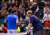 December 21, 2014, Rotterdam, Topsport Centrum, Lotto NK Tennis, Men's Final,  Thiemo de Bakker (NED) and Robin Haase in discussion<br /> Photo: Tennisimages/Henk Koster