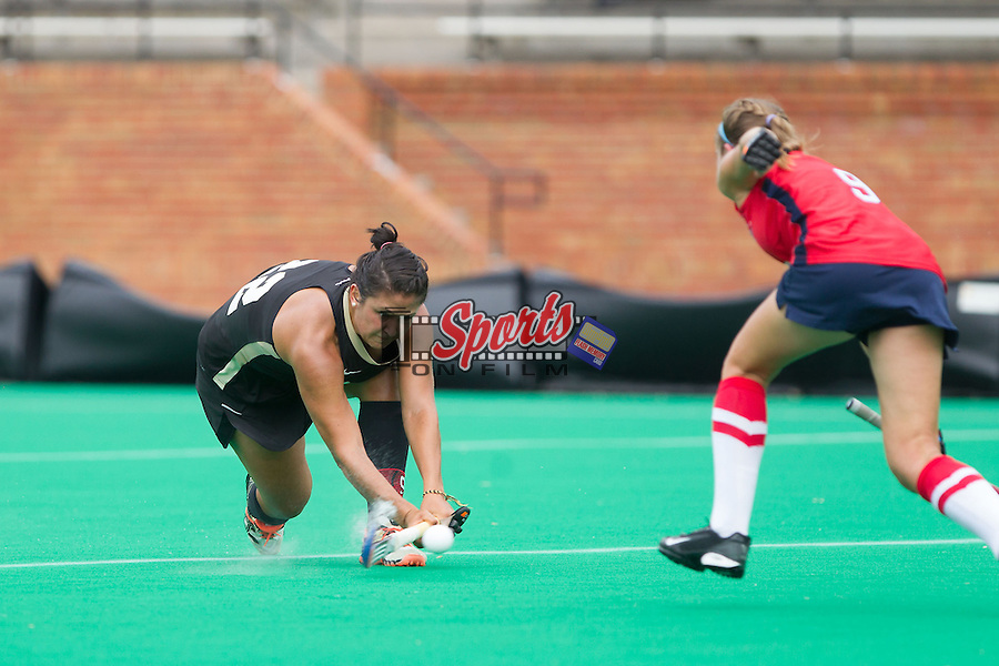 Anna Kozniuk (22) of the Wake Forest Demon Deacons takes a shot on goal during first half action against the Richmond Spiders at Kentner Stadium on September 29, 2013 in Winston-Salem, North Carolina.  The Demon Deacons defeated the Spiders 1-0 in overtime.  (Brian Westerholt/Sports On Film)