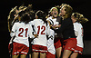 Wheatley teammates celebrate after their 2-1 overtime win over Cold Spring Harbor in the Nassau County varsity girls soccer Class B final at Bethpage High School on Monday, Oct. 29, 2018.