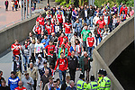 LONDON, ENGLAND - MAY 12: York City Fans arrive for the FA Carlsberg Trophy Final between York City and Newport County at Wembley Stadium on May 12, 2012 in London, England. (Photo by Dave Horn - Extreme Aperture Photography)