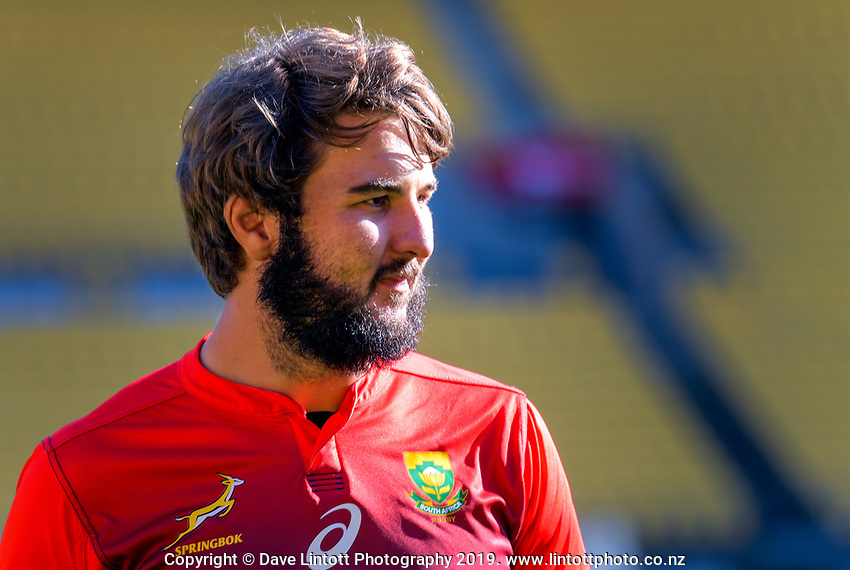 Lood de Jager during the Rugby Championship South Africa Springboks captain's run training session at Westpac Stadium in Wellington, New Zealand on Friday, 26 July 2019. Photo: Dave Lintott / lintottphoto.co.nz
