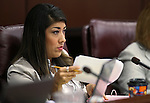 Nevada Assemblywoman Lucy Flores, D-Las Vegas, works in committee at the Legislative Building in Carson City, Nev., on Wednesday, March 13, 2013.   .Photo by Cathleen Allison