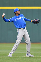 Left fielder Tristan Pompey (6) of the Kentucky Wildcats warms up between innings of a game in the rain against the University of South Carolina Upstate Spartans on Saturday, February 17, 2018, at Cleveland S. Harley Park in Spartanburg, South Carolina. Kentucky won, 6-5, in 10 innings. (Tom Priddy/Four Seam Images)