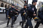 Police preparing for the start of the May Day, or Labor Day, March in Paris, France, Europe