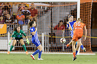 Houston, TX - Wednesday June 28, 2017: Janine Beckie takes a shot at the Boston goal during a regular season National Women's Soccer League (NWSL) match between the Houston Dash and the Boston Breakers at BBVA Compass Stadium.