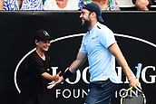 10th January 2018, ASB Tennis Centre, Auckland, New Zealand; ASB Classic, ATP Mens Tennis;  Jack Sock (USA) shakes hands with a ball kid during the ASB Classic ATP Men's Tournament Day 3