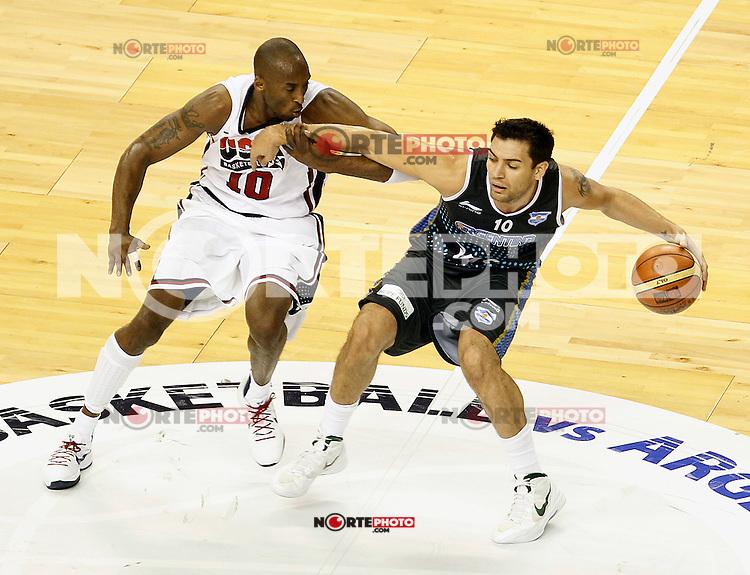 USA's Kobe Bryant (l) and Argentina's Carlos Delfino during friendly match.July 22,2012. (ALTERPHOTOS/Acero) /NortePhoto.com*2012-07-22<br /> **CREDITO*OBLIGATORIO** <br /> *No*Venta*A*Terceros*<br /> *No*Sale*So*third*<br /> *** No Se Permite Hacer Archivo**