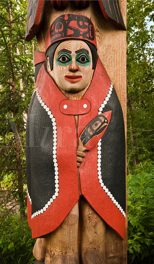 Totem pole detail, Alaska Native Heritage Center, Anchorage, Alaska