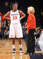 UVa head coach Debbie Ryan talks with her player Monica Wright.