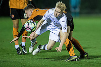 Friday  16 December 2014<br /> Pictured:  Oliver Cooper of Swansea City takes a tumble <br /> Re: Swansea City U18s v Wolverhampton Wonderers U18s, 3rd Round FA youth Cup Match at the Landore Training Facility, Swansea, Wales, UK