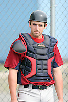 July 4th 2008:  Catcher Jacob Jefferies of the Hudson Valley Renegades, Class-A affiliate of the Tampa Bay Rays, during a game at Dwyer Stadium in Batavia, NY.  Photo by:  Mike Janes/Four Seam Images