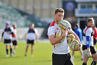 Rhys Priestland of Bath Rugby with a set of balls. Bath Rugby Captain's Run on February 19, 2016 at the Recreation Ground in Bath, England. Photo by: Patrick Khachfe / Onside Images