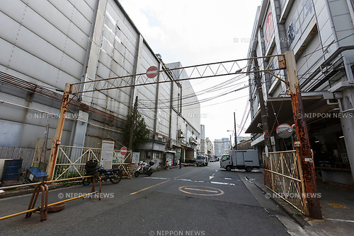 A gate for trucks is seen at Tokyo's Tsukiji Wholesale Fish Market on October 10, 2018, Tokyo, Japan. Tokyo's iconic fish market closed its doors for the last time on October 6 for a move to a newly created facility, ''The Toyosu Fish Market,'' which will start operating on October 16. The wholesale fish market in Tsukiji first opened in the mid-1930s and was one of the Japanese capital's most popular destinations for international tourists. (Photo by Rodrigo Reyes Marin/AFLO)