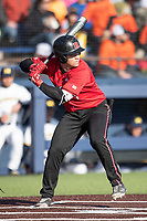 Rutgers Scarlet Knights second baseman Tim Dezzi (4) at bat against the Michigan Wolverines on April 26, 2019 in the NCAA baseball game at Ray Fisher Stadium in Ann Arbor, Michigan. Michigan defeated Rutgers 8-3. (Andrew Woolley/Four Seam Images)