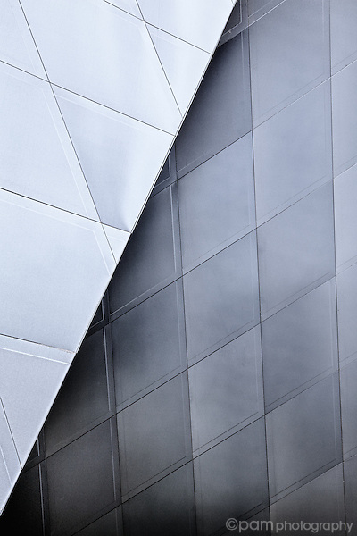 Close-up abstract of angles of the Jewish Contemporary Museum in San Francisco