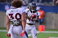 Ohio, Canton - August 1, 2019: Denver Broncos running back Devontae Jackson #48 and running back Phillip Lindsay #30 warm up before a pre-season game between the Atlanta Falcons and the Denver Broncos at the Tom Benson stadium in Canton, Ohio August 1, 2019. This game marks start of the 100th season of the NFL. (Photo by Don Baxter/Media Images International)