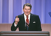 United States President Ronald Reagan makes remarks from the podium of the 1988 Republican Convention at the Super Dome in New Orleans, Louisiana on August 15, 1988.<br /> Credit: Arnie Sachs / CNP