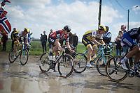 Edvald Boasson Hagen (Nor/DimensionData) directly behind Sep Vanmarcke (BEL/LottoNL-Jumbo) & Tom Boonen (BEL/Etixx-QuickStep) at the end of sector 11: Auchy-lez-Orchies to Bersée (2.7km)<br /> <br /> 114th Paris-Roubaix 2016