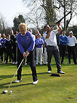 Lady Captain Nuala Thorne tees off at the captain's drive in at ardee golf club. Photo: Colin Bell/pressphotos.ie