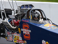 Jun 20, 2015; Bristol, TN, USA; NHRA top dragster driver Casey Spradlin during qualifying for the Thunder Valley Nationals at Bristol Dragway. Mandatory Credit: Mark J. Rebilas-