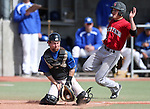 A Colorado Northwestern runner scores past Western Nevada's Colby Rice in a college baseball game in Carson City, Nev., on Sunday, March 10, 2013. WNC swept the weekend series 4-0..Photo by Cathleen Allison/Nevada Photo Source