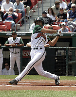 June 26, 2004:  Alex Escobar of the Buffalo Bisons, International League (AAA) affiliate of the Cleveland Indians, during a game at Dunn Tire Park in Buffalo, NY.  Photo by:  Mike Janes/Four Seam Images