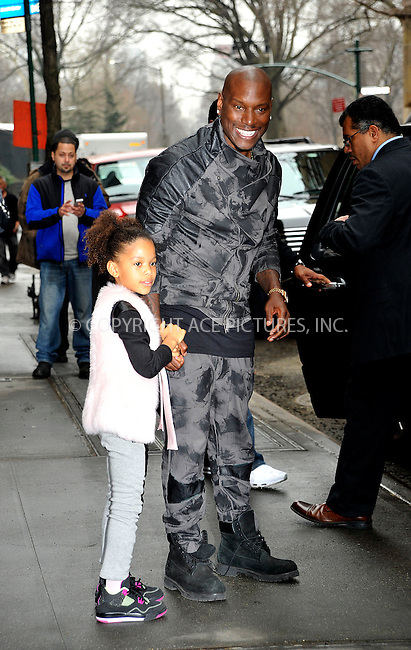 WWW.ACEPIXS.COM<br /> <br /> March 26 2015, New York City<br /> <br /> Actor Tyrese Gibson and his daughter Shayla leaving the studios of 'The View' on March 26 2015 in New York City<br /> <br /> By Line: Curtis Means/ACE Pictures<br /> <br /> <br /> ACE Pictures, Inc.<br /> tel: 646 769 0430<br /> Email: info@acepixs.com<br /> www.acepixs.com