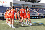 DURHAM, NC - FEBRUARY 16: Campbell's Kylie Haarhoff (28). The Duke University Blue Devils hosted the Campbell University Camels on February 16, 2018, at Koskinen Stadium in Durham, NC in women's college lacrosse match. Duke won the game 18-8.