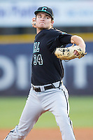 Coastal Carolina Chanticleers starting pitcher Cole Schaefer (34) in action against the High Point Panthers at Willard Stadium on March 15, 2014 in High Point, North Carolina.  The Panthers defeated the Chanticleers 11-8 in game two of a double-header.  (Brian Westerholt/Four Seam Images)