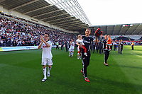 FAO SPORTS PICTURE DESK<br /> Pictured L-R: Leon Britton and Garry Monk of Swansea thank supporters at the end of the game. Sunday, 13 May 2012<br /> Re: Premier League football, Swansea City FC v Liverpool FC at the Liberty Stadium, south Wales.