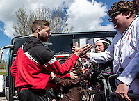 The fans welcome Billy Kee of Accrington Stanley prior to the Sky Bet League 2 match between Wycombe Wanderers and Accrington Stanley at Adams Park, High Wycombe, England on the 30th April 2016. Photo by Liam McAvoy / PRiME Media Images.