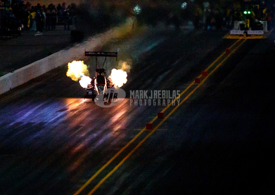Jul 28, 2017; Sonoma, CA, USA; NHRA top fuel driver Terry McMillen races down track during qualifying for the Sonoma Nationals at Sonoma Raceway. Mandatory Credit: Mark J. Rebilas-USA TODAY Sports