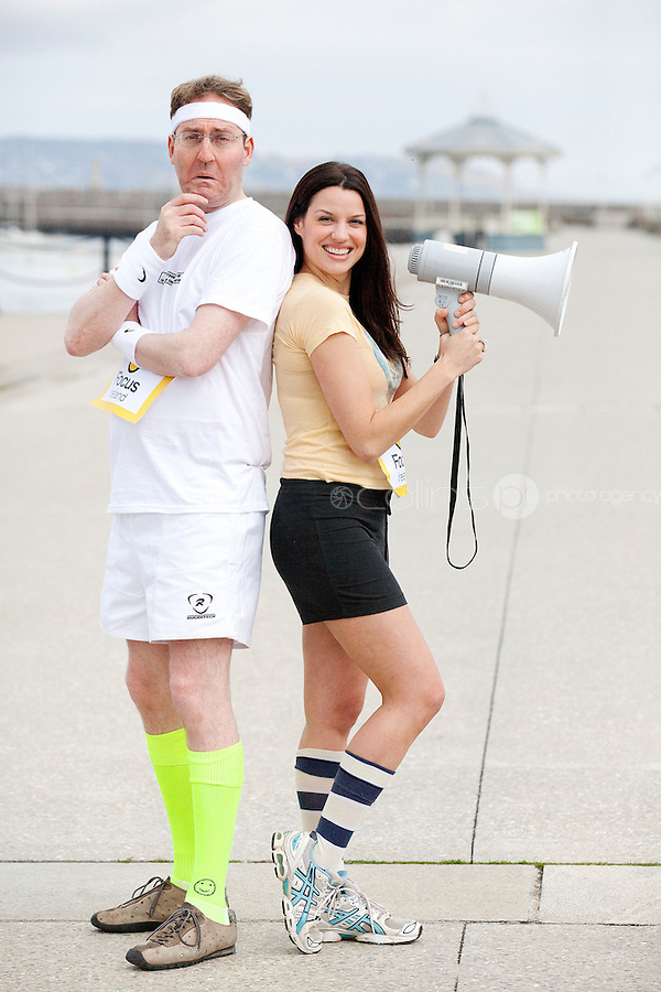 NO REPRO FEE. 14/4/20111. Caroline Morahan and David McSavage dive in to urge people of all levels to register for Focus Ireland's Fundraising Triathlon . Caroline Morahan and David McSavage got geared up today to encourage new and experienced triathletes to sign up and start training for this year's Focus Ireland Fundraising Triathlon. The event, which takes place at Dun Laoghaire pier over the August Bank Holiday Weekend, aims to raise over EUR100,000 in vital funds to help the charity continue its work to combat and prevent homelessness in Ireland. Registration is now open online at www.focusireland.ie. Picture James Horan/Collins Photos