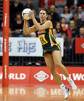 26.07.2015 South Africa's Adele Niemand in action during the Silver Fern v South Africa netball test match played at Claudelands Arena in Hamilton. Mandatory Photo Credit ©Michael Bradley.