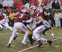 NWA Democrat-Gazette/MICHAEL WOODS • Arkansas quarterback Brandon Alles runs the ball in the 3rd quarter of Friday's game at Razorback Stadium November 27, 2015.