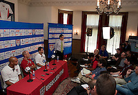 US Men's National Team of the US Men's National Team during a press conference in Chicago, Illinois prior to their match vs. Honduras..